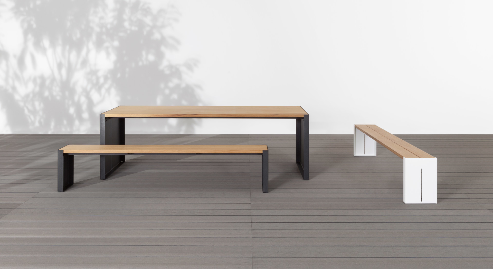 Panco Design Outdoor Table And Bench With Top In Wood Iroko Lapalma