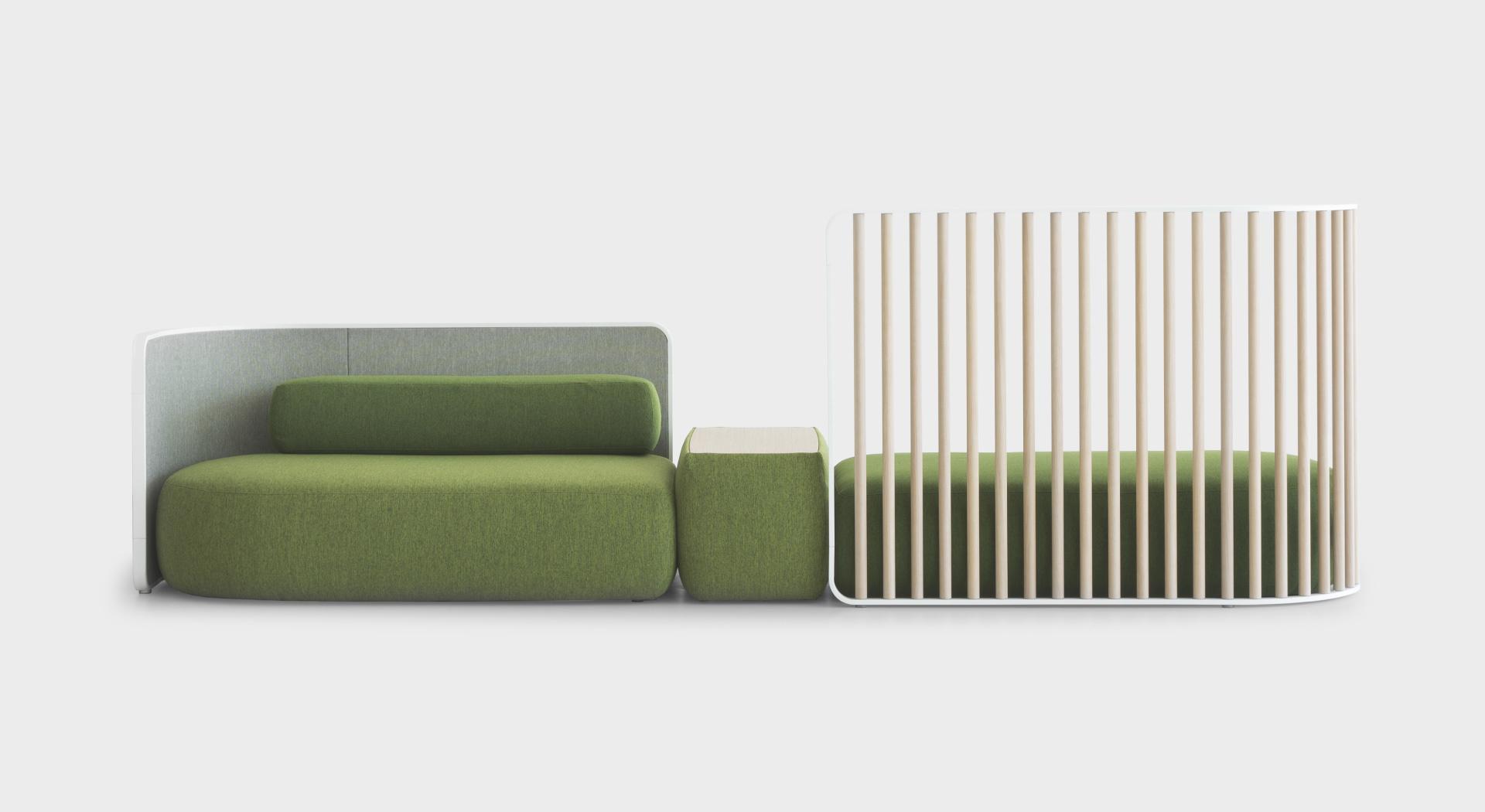 PLUS Vis-à-vis | Modular sofa: with partitions and armrest - Lapalma
