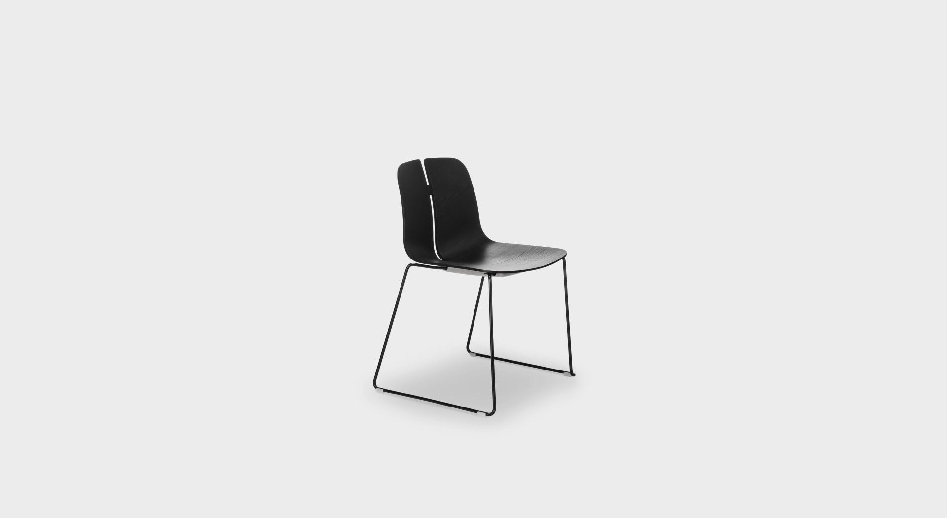 Sedie A Slitta Moderne.Link S124 Sedia Di Design Seduta In Legno E Gambe In Metallo